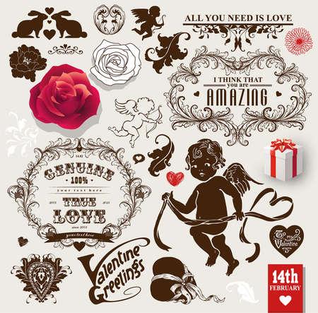 San Valentino vettoriale vintage set di cornici, fiori e simboli d'amore