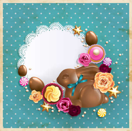 Easter background with chocolate bunny, eggs, sweets and roses