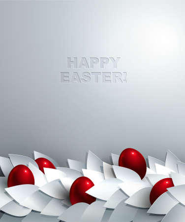 Easter background with border of cutout paper leaves and shiny red eggs   Vector