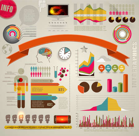 Set of colored Infographic Elements  Vector