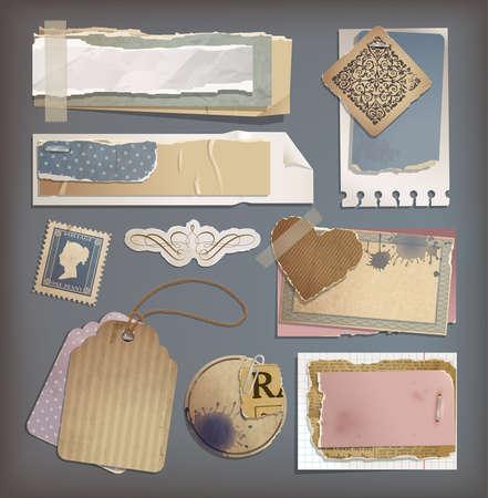 ferraille: Ensemble de papier grunge vieux mill�sime d�chir� Illustration