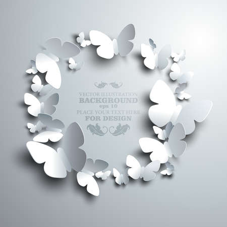 butterfly background: wreath made of white paper butterflies with free space for your text in the middle