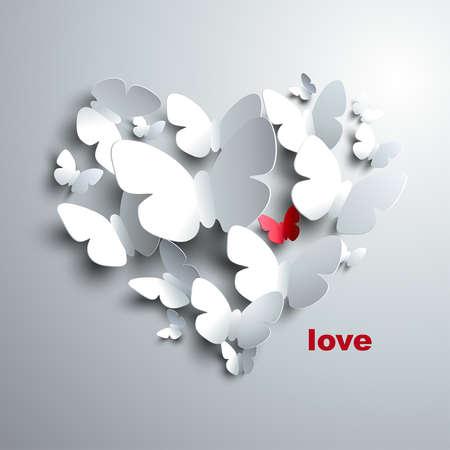 Corazón de San Valentín s de las mariposas Ilustración de vector