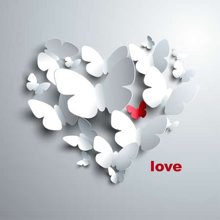 Valentine s Heart of butterflies  Vector