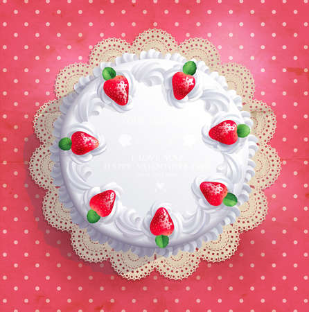 Big white wedding cake with cream and strawberries and free space for your text  Vector