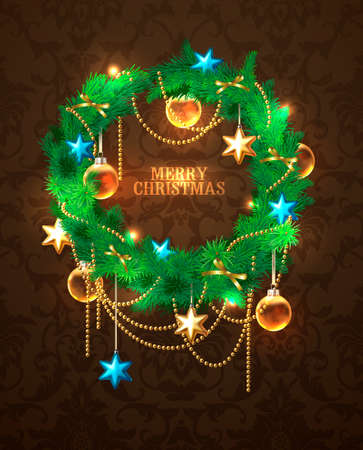 Christmas wreath with golden decoration Stock Vector - 23241790