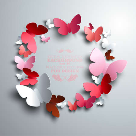 wreath made of white red and pink paper butterflies with free space for your text in the middle