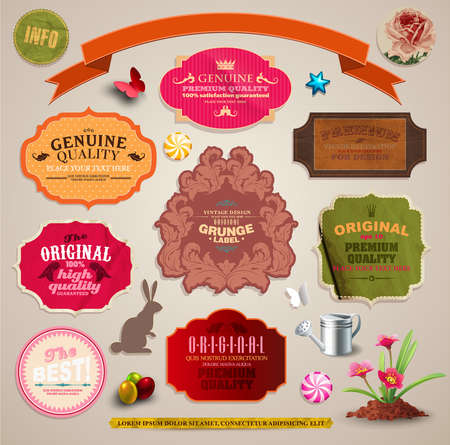 Set of vintage stickers, cards and labels   Vector