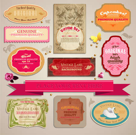 butterfly vintage: Set of vintage stickers, cards and labels   Illustration