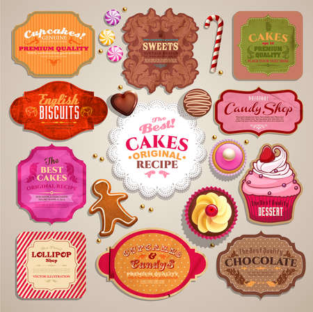 cupcake illustration: Vintage set of grunge stickers, labels and tags for coffee or bakery