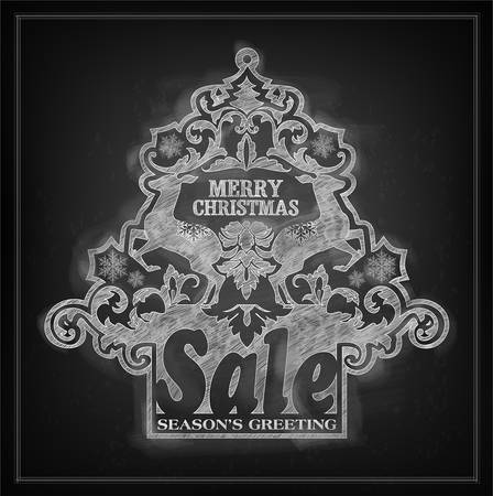 Chalk effect vector Christmas sale placard with deers, snowflakes and floral ornament Stock Vector - 24247918
