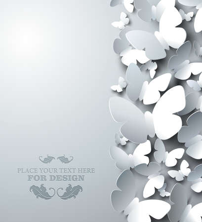 tridimensional: white with cutout butterflies, vertical composition
