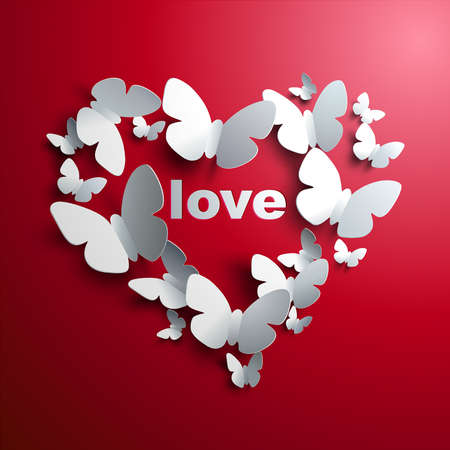 Valentine s Heart of butterflies - concept of love  Vector