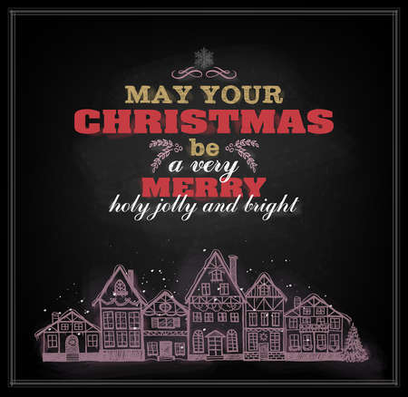 Christmas vintage chalkboard placard with greetings and view of old town  Eps 10
