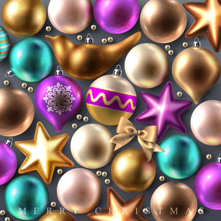 Decorative Merry and Bright Christmas background with glass colored Christmas baubles, stars, bows and birds  Vector