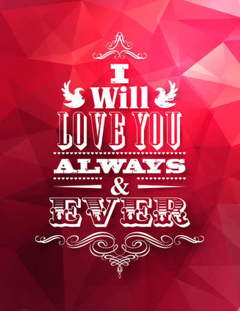 oath: Valentine s postcard with red abstract geometric background and love oath