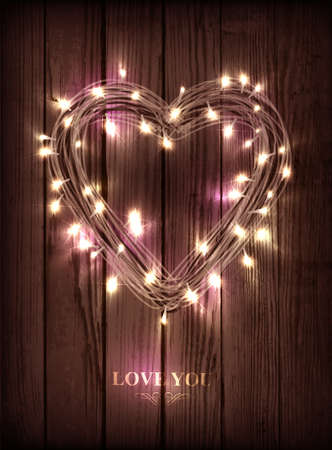 Valentine s heart-shaped wreath made of led lights on the wooden background Stock Vector - 25470680