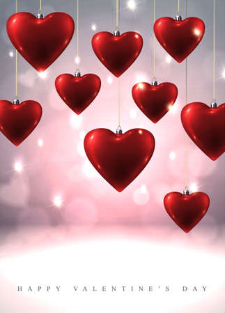 Sparkling Valentine s background with hanging red glass hearts Stock Vector - 25470684
