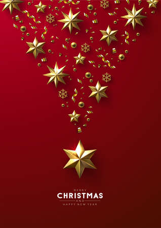 Christmas composition made of cutout  realistic looking gold stars, beads and glittery snowflakes on a bright red background.