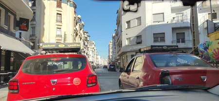 red petit taxis in morocco
