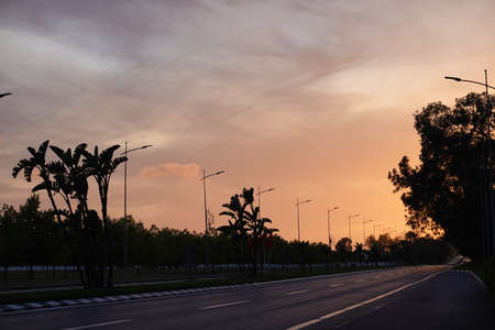 a lonly empty road by the time of sunset Stock fotó