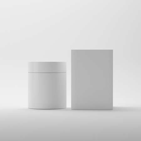 Blank Cosmetic Package Container For Cream, Medicine or Gel On Isolated White Background, Ready For Design Template, Round Packaging Of Cream Jar, 3D Illustration 版權商用圖片