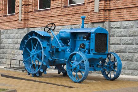 Blue colored traktor Stock Photo - 16804240