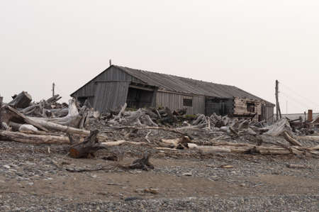 barrack: old wooden barrack on sea shore Stock Photo