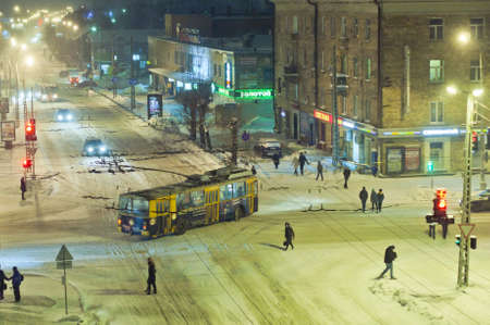Snow street in Petrozavodsk photo