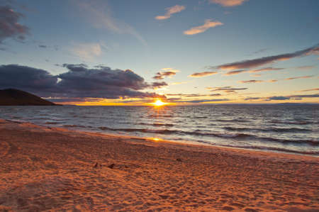 Sunset on Baikal lake Stock Photo - 17365027