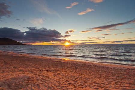Sunset on Baikal lake Stock Photo - 17365027