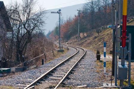 gora: Railroad with feeding sheeps in Mokra Gora village