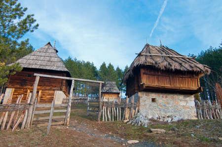 Ethno village Sirogojno in Zlatibor. Native Serbian yard Stock Photo - 19097630