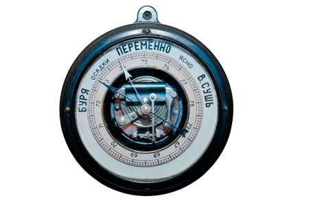aneroid: Old black barometer with russian letters on the white Stock Photo
