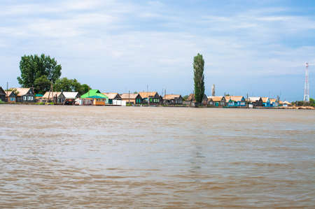 Villages on Volga on the Volga shore in Astrakhanskaya region photo