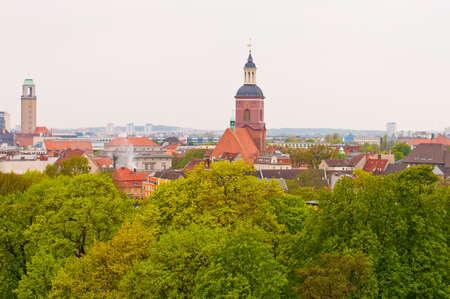 聖ニコラス教会。シュパンダウ。ベルリン。地区への一般的なビュー