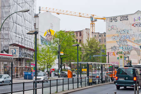 reconstructing: Invalidenstrasse, street in East Berlin with reconstructing buildings. Berlin, may 2013. Editorial