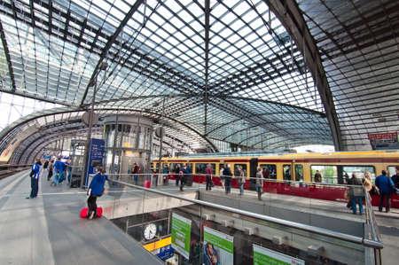 u bahn: Main Berlin station interior of high stage with U-Bahn, Berlin, May 2013