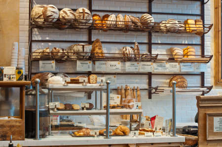 bread shop: Variety of baked products at a bakery Stock Photo