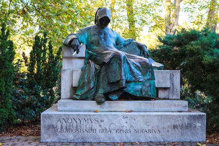 Monument of anonymous in Budapest. Old sculpture in park. photo