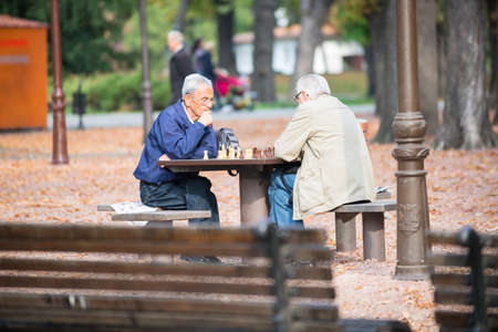 belgrade: BELGRADE - OCT 31 2013  Two seniors are playing in city park on October 31, 2013, Belgrade, Serbia