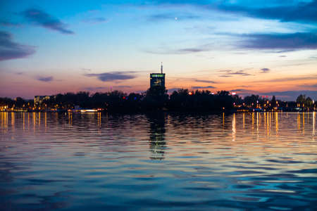 New Belgrade district at sunset from Sava mouth photo