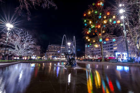 holyday: Fountain sculpture at central square in Malmo in New Year holyday