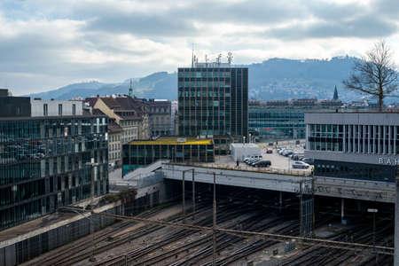 BERN - JAN 22 2014  Main railway station - Hauptbahnhof on January 22, 2014, Bern, Switzerland