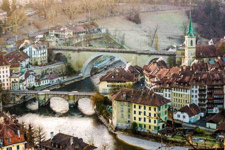 View of Bern old city taken in sunrise hour photo