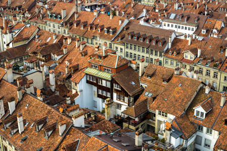 top down car: House pattern in old city center  Bern