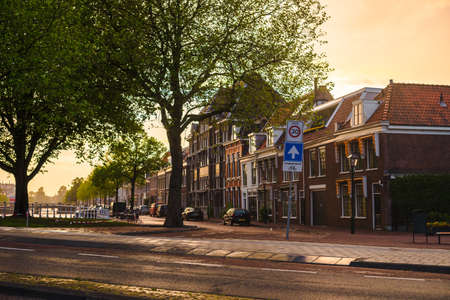 Streets of Haarlem town in Netherland in sunset time Stock Photo