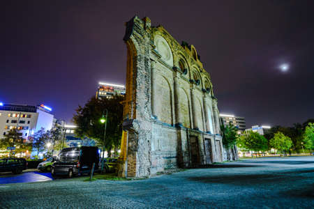 bombed city: Berlin, Germany - October 07, 2014:  Anhalter Bahnhof ruins in night time.