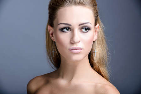 disregard: Salon look of model girl. Closeup portrait.