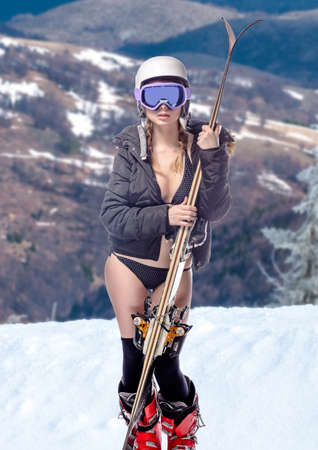 nude outdoors: Freeride naked girl with snow landscape at background Stock Photo
